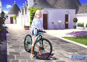 Rating: Safe Score: 65 Tags: animal bicycle blonde_hair boots building cat green_eyes hitomi_kazuya logo original shorts User: Dreista
