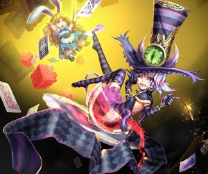 Rating: Safe Score: 124 Tags: alice_in_wonderland animal_ears cheshire_cat elbow_gloves fang gloves hat observerz thighhighs User: gnarf1975