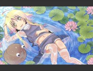 Rating: Safe Score: 35 Tags: blonde_hair blush hat irie_(masaki) long_hair moriya_suwako navel see_through skirt touhou water wet yellow_eyes User: RyuZU