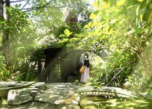 Rating: Safe Score: 66 Tags: building green leaves original sakeharasu scenic short_hair skirt tree wristwear User: FormX