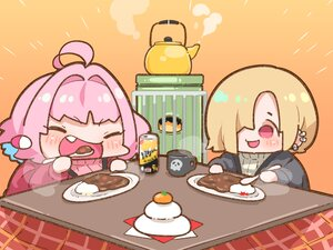Rating: Safe Score: 19 Tags: 2girls blonde_hair blush chibi cropped drink fang food fruit gradient idolmaster idolmaster_cinderella_girls japanese_clothes kotatsu orange orange_(fruit) pink_hair red_eyes shirasaka_koume short_hair takatoo_kurosuke yumemi_riamu User: otaku_emmy