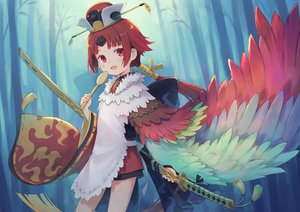 Rating: Safe Score: 42 Tags: 104 apron benienma fate/grand_order fate_(series) forest hat katana loli long_hair ponytail red_eyes red_hair sword tree weapon wings User: RyuZU