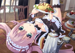 Rating: Safe Score: 174 Tags: blush breasts cleavage food maid original pink_hair thighhighs tsukamoto_rinichirou twintails User: gnarf1975