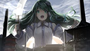 Rating: Safe Score: 38 Tags: building clouds green_eyes green_hair japanese_clothes kochiya_sanae long_hair miko ryosios sky touhou User: RyuZU