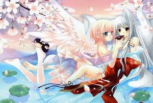 Rating: Safe Score: 71 Tags: animal_ears dengeki_moeoh foxgirl gray_hair hinayuki_usa no_bra original panties pink_hair sakurazawa_izumi see_through tail underwear water wings User: FormX