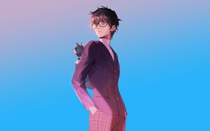Rating: Safe Score: 17 Tags: all_male animal black_hair blue cat glasses gradient kurusu_akira male naked_cat persona persona_5 short_hair User: RyuZU