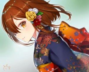 Rating: Safe Score: 21 Tags: anthropomorphism blush brown_hair close fang haiba_09 ikazuchi_(kancolle) japanese_clothes kantai_collection kimono orange_eyes short_hair signed sketch User: otaku_emmy