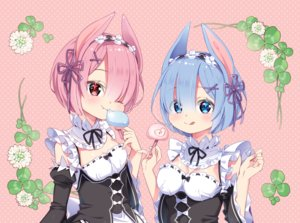 Rating: Safe Score: 21 Tags: 2girls animal_ears aqua_eyes arami_o_8 blue_hair blush food maid pink pink_eyes pink_hair ram_(re:zero) rem_(re:zero) re:zero_kara_hajimeru_isekai_seikatsu short_hair twins User: FormX