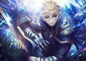 Rating: Safe Score: 62 Tags: all_male aqua_eyes blonde_hair cape elbow_gloves fate/grand_order fate_(series) gawain gloves male short_hair sword terai_(teraimorimori) weapon User: RyuZU