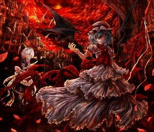 Rating: Safe Score: 120 Tags: 2girls animal bat dress flowers hat izayoi_sakuya kazabana_kazabana knife maid remilia_scarlet rose touhou vampire wings User: PAIIS