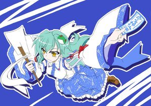 Rating: Safe Score: 11 Tags: boots green_hair japanese_clothes kochiya_sanae long_hair miko touhou wand yellow_eyes User: w7382001