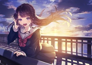 Rating: Safe Score: 55 Tags: black_hair blush clouds kusaka_kou long_hair original purple_eyes seifuku skirt sky sunset User: RyuZU