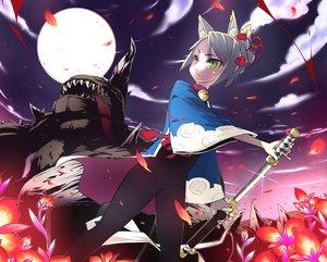 Rating: Safe Score: 24 Tags: animal_ears blood flowers foxgirl gray_hair green_eyes katana moon petals sword weapon User: HawthorneKitty