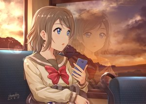Rating: Safe Score: 90 Tags: blue_eyes bow brown_hair clouds love_live!_school_idol_project love_live!_sunshine!! phone reflection school_uniform shamakho short_hair signed sky sunset watanabe_you User: RyuZU