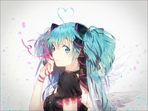 Rating: Safe Score: 159 Tags: aliasing aqua_eyes aqua_hair hakusai hatsune_miku long_hair ribbons twintails vocaloid wings User: Flandre93