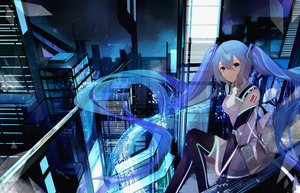 Rating: Safe Score: 66 Tags: aqua_eyes aqua_hair bodysuit building city dress elbow_gloves gloves hatsune_miku long_hair marcellokito! night scenic see_through sky tattoo thighhighs twintails vocaloid User: BattlequeenYume