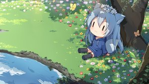 Rating: Safe Score: 59 Tags: animal animal_ears black_eyes blue_hair blush butterfly chibi fish flowers foxgirl grass hoodie long_hair original reflection shade tail thighhighs tree water yoshino_ryou zettai_ryouiki User: otaku_emmy