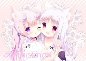 Rating: Safe Score: 66 Tags: 2girls animal_ears catgirl collar fang flat_chest flowers hoodie horns loli original pink_hair purple_eyes red_eyes re-vivi tail twintails white_hair wink User: 蕾咪