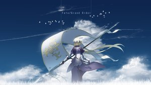Rating: Safe Score: 63 Tags: animal armor asuteroid bird blonde_hair chain clouds dress elbow_gloves fate/grand_order fate_(series) gloves gray_eyes headdress jeanne_d'arc_(fate) long_hair sky spear thighhighs weapon User: RyuZU