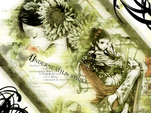 Rating: Safe Score: 12 Tags: black_eyes black_hair braids chinese_clothes flowers green sunflower User: Oyashiro-sama