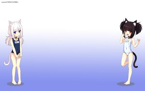 Rating: Safe Score: 194 Tags: 2girls animal_ears barefoot bell black_hair blue_eyes blush catgirl cat_smile chocola_(sayori) collar flat_chest gradient loli long_hair nekopara neko_works orange_eyes sayori school_swimsuit short_hair swimsuit tail third-party_edit vanilla_(sayori) white_hair User: SciFi