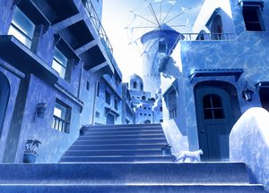 Rating: Safe Score: 62 Tags: animal blue building cat gensuke monochrome nobody original scenic stairs User: FormX