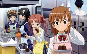 Rating: Safe Score: 121 Tags: apron black_hair bow brown_eyes brown_hair chocolate crying food gloves headdress kamijou_touma long_hair misaka_mikoto pink_eyes saten_ruiko seifuku shirai_kuroko short_hair skirt to_aru_kagaku_no_railgun to_aru_majutsu_no_index twintails uiharu_kazari User: pantu
