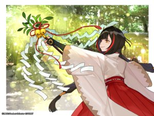 Rating: Safe Score: 28 Tags: bell black_hair elbow_gloves forest gloves japanese_clothes long_hair miko orange_eyes staff tree twintails wixoss yukime_(wixoss) yuu_(higashi_no_penguin) User: otaku_emmy