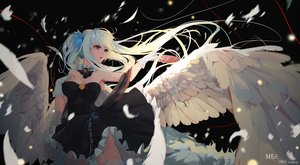 Rating: Safe Score: 91 Tags: bicolored_eyes blue_eyes brown_eyes feathers gloves kagura_mea kagura_mea_channel long_hair orga_(pixiv13765813) white_hair wings User: BattlequeenYume