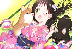 Rating: Safe Score: 32 Tags: animal ball blush brown_hair dog gradient green_eyes japanese_clothes kakizato kimono long_hair original wink User: BattlequeenYume