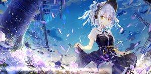 Rating: Safe Score: 107 Tags: dress flowers hat original sky tatsukisan windmill User: BattlequeenYume