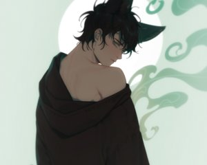 Rating: Safe Score: 6 Tags: all_male animal_ears black_hair catboy cropped e7_(runaway162) hoodie male original short_hair User: mattiasc02