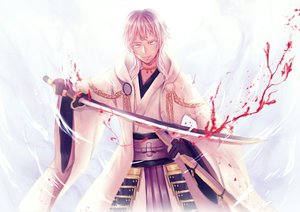 Rating: Safe Score: 24 Tags: all_male anthropomorphism blood jpeg_artifacts male samurai short_hair somnus sword touken_ranbu tsurumaru_kuninaga weapon white_hair yellow_eyes User: RyuZU
