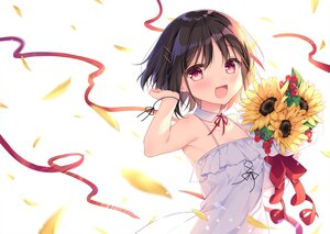 Rating: Safe Score: 48 Tags: black_hair blush bow dress flowers original petals red_eyes ribbons shikitani_asuka short_hair summer_dress sunflower white wristwear User: BattlequeenYume
