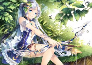 Rating: Safe Score: 121 Tags: aqua_eyes bow_(weapon) breasts bubbles diana_(sid_story) dress grass long_hair rain sid_story sliverbin water weapon wet white_hair User: luckyluna