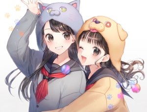 Rating: Safe Score: 56 Tags: 2girls animal_ears black_hair brown_eyes brown_hair close hat hug long_hair momoshiki_tsubaki original school_uniform wink User: BattlequeenYume