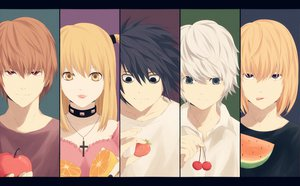 Rating: Safe Score: 65 Tags: amane_misa apple black_eyes black_hair blonde_hair blue_eyes brown_hair cherry collar cross death_note food fruit group jpeg_artifacts l long_hair male mello nate_river necklace orange_(fruit) ponytail red_eyes saik shirt short_hair strawberry watermelon white_hair yagami_light yellow_eyes User: ガラス