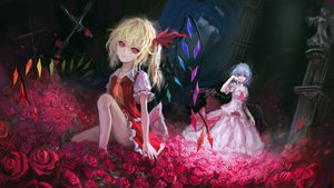 Rating: Safe Score: 103 Tags: dress flandre_scarlet flowers petals red_eyes remilia_scarlet touhou tuzki wings User: opai