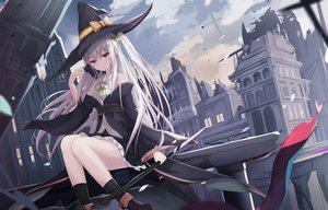 Rating: Safe Score: 117 Tags: animal boots building cat city clouds hat kneehighs long_hair original ponytail red_eyes ruins skirt sky staff touhourh weapon white_hair witch witch_hat User: 蕾咪