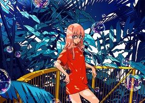 Rating: Safe Score: 36 Tags: aqua_eyes bubbles glasses keishin leaves original pink_hair User: FormX