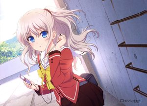 Rating: Safe Score: 229 Tags: blonde_hair blue_eyes charlotte headphones ipod ponytail rooftop scan school_uniform skirt tagme_(artist) tomori_nao User: Wiresetc