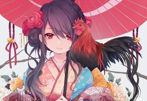 Rating: Safe Score: 68 Tags: animal bell bird black_hair braids close flowers japanese_clothes kimono kuroi_(liar-player) long_hair original red_eyes umbrella waifu2x User: ssagwp