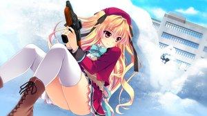 Rating: Safe Score: 30 Tags: baka_moe_heart_ni_ai_wo_komete! blonde_hair boots bow building game_cg gun hat kamiwazumi_chinami long_hair pink_eyes praline riv seifuku skirt snow thighhighs twintails weapon winter User: birdy73