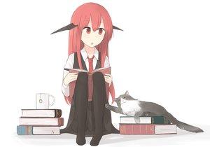 Rating: Safe Score: 39 Tags: animal book cat demon hinami047 koakuma long_hair pantyhose red_eyes red_hair tie touhou white wings User: RyuZU