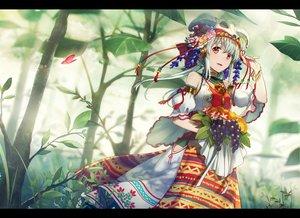 Rating: Safe Score: 52 Tags: asahikawa_hiyori butterfly dress food forest fruit grass gray_hair headdress long_hair necklace original red_eyes skull tree waifu2x wristwear User: otaku_emmy