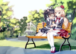 Rating: Safe Score: 50 Tags: 2girls animal_ears black_hair blonde_hair book bow catgirl food glasses grass kneehighs long_hair original park red_eyes short_hair tagme_(artist) tail thighhighs tree wink yellow_eyes User: RyuZU