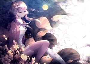 Rating: Safe Score: 77 Tags: flowers long_hair lyodi purple_hair stars thighhighs twintails vocaloid yuzuki_yukari User: Flandre93
