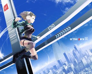Rating: Safe Score: 80 Tags: blonde_hair building city green_eyes headphones nekoita sky thighhighs User: w7382001
