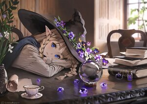 Rating: Safe Score: 69 Tags: blue_eyes book braids brown_hair flowers hat leaves long_hair original paper pointed_ears shirt signed sunako_(veera) witch witch_hat User: BattlequeenYume