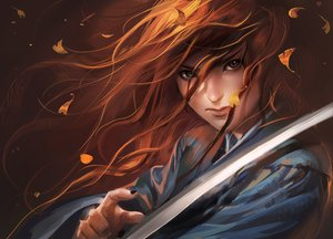 Rating: Safe Score: 119 Tags: close red_hair sakimichan samurai sword weapon User: garypan
